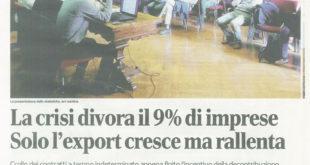 Rassegna stampa: presentazione rapporto sull'economia nella nostra Provincia